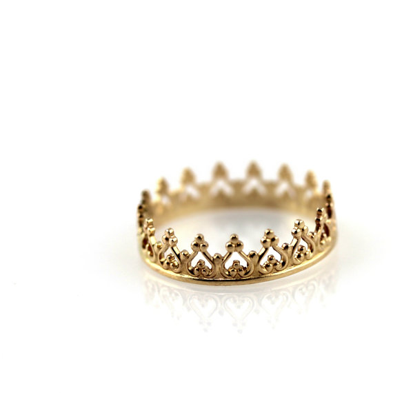 Crown ring  solid 14K yellow gold ring by junedesigns on Etsy