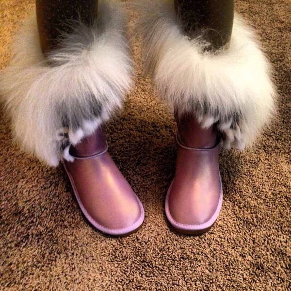shoes tassle rabbit fur mid-calf ankle boots ugg boots