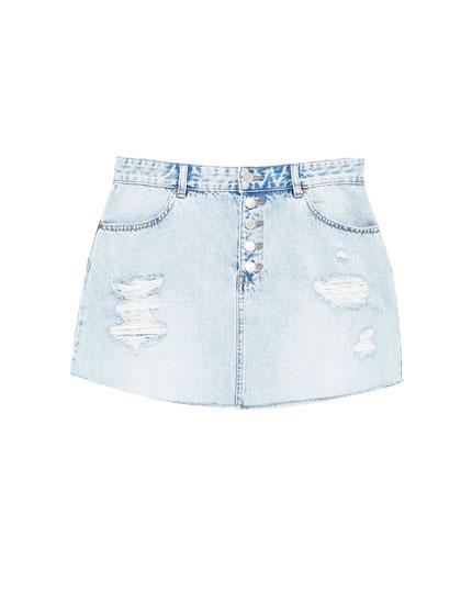 Jeansowa spódnica z przetarciami - Spódnice - Odzież - Dla Niej - PULL&BEAR Polska