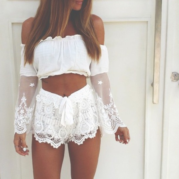 jumpsuit boho chic boho white top tumblr outfit crop tops off the shoulder long sleeves white shorts lace shorts summer outfits