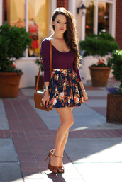 hapa time,skirt,jewels,t-shirt,shoes,bag,floral skirt,floral,red,burgundy top,burgundy,cute outfits,cute,girly,crossbody bag,heels,shirt,floral skater skirt,dark blue floral circle skirt,purple mid-sleeved right shirt