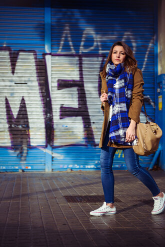 lovely pepa blogger coat leather bag tartan scarf blanket scarf shoes bag jeans scarf jewels
