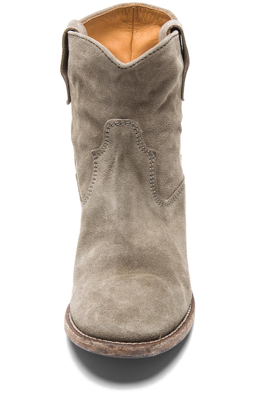 isabel marant crisi calfskin velvet leather boots in taupe. Black Bedroom Furniture Sets. Home Design Ideas