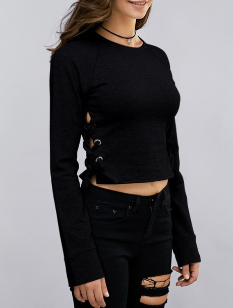 Blouse: black, lace up, crop, cropped, sweater - Wheretoget