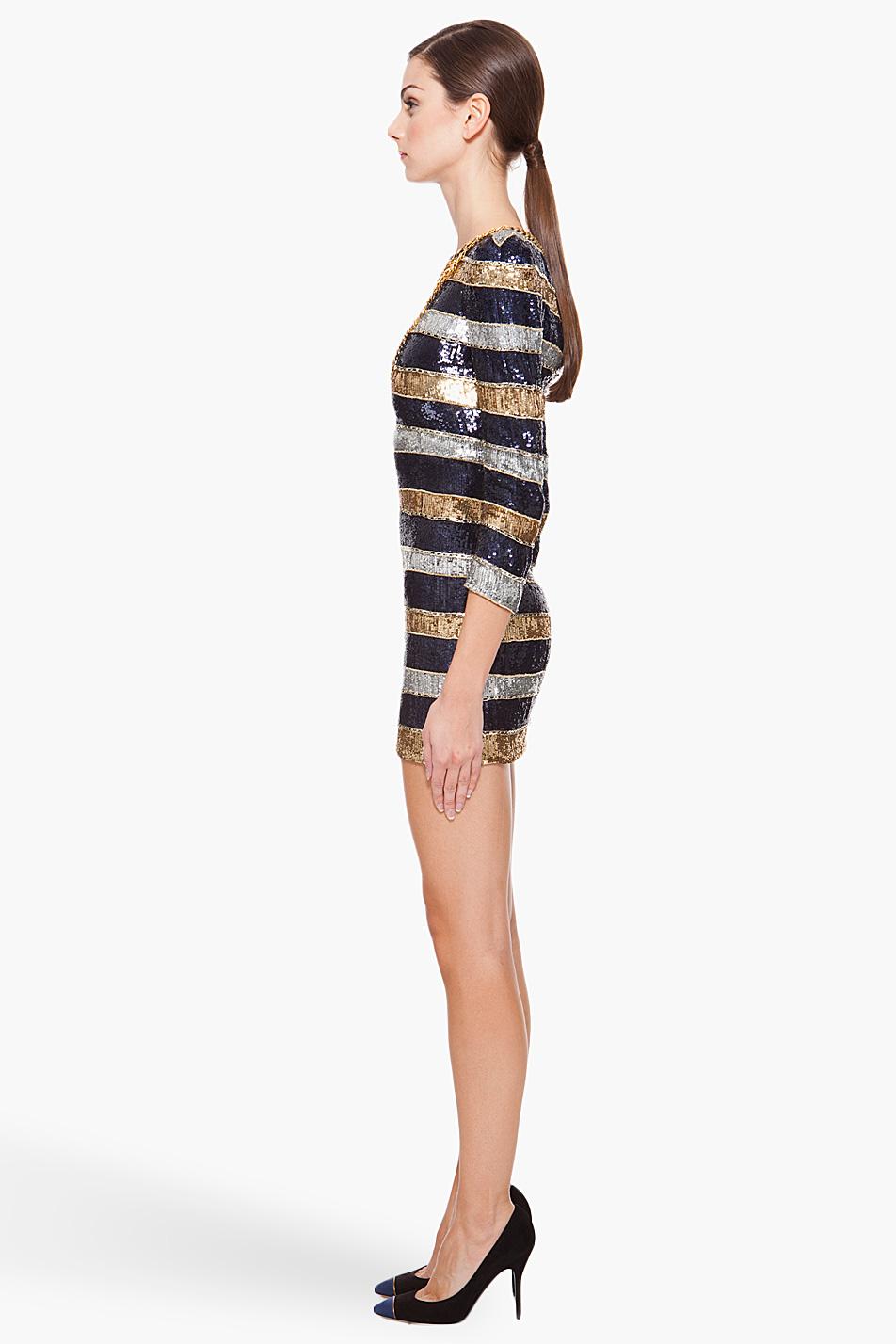 de6b68f1 Balmain Silk Stripe Sequin Dress in Blue (navy) | Lyst