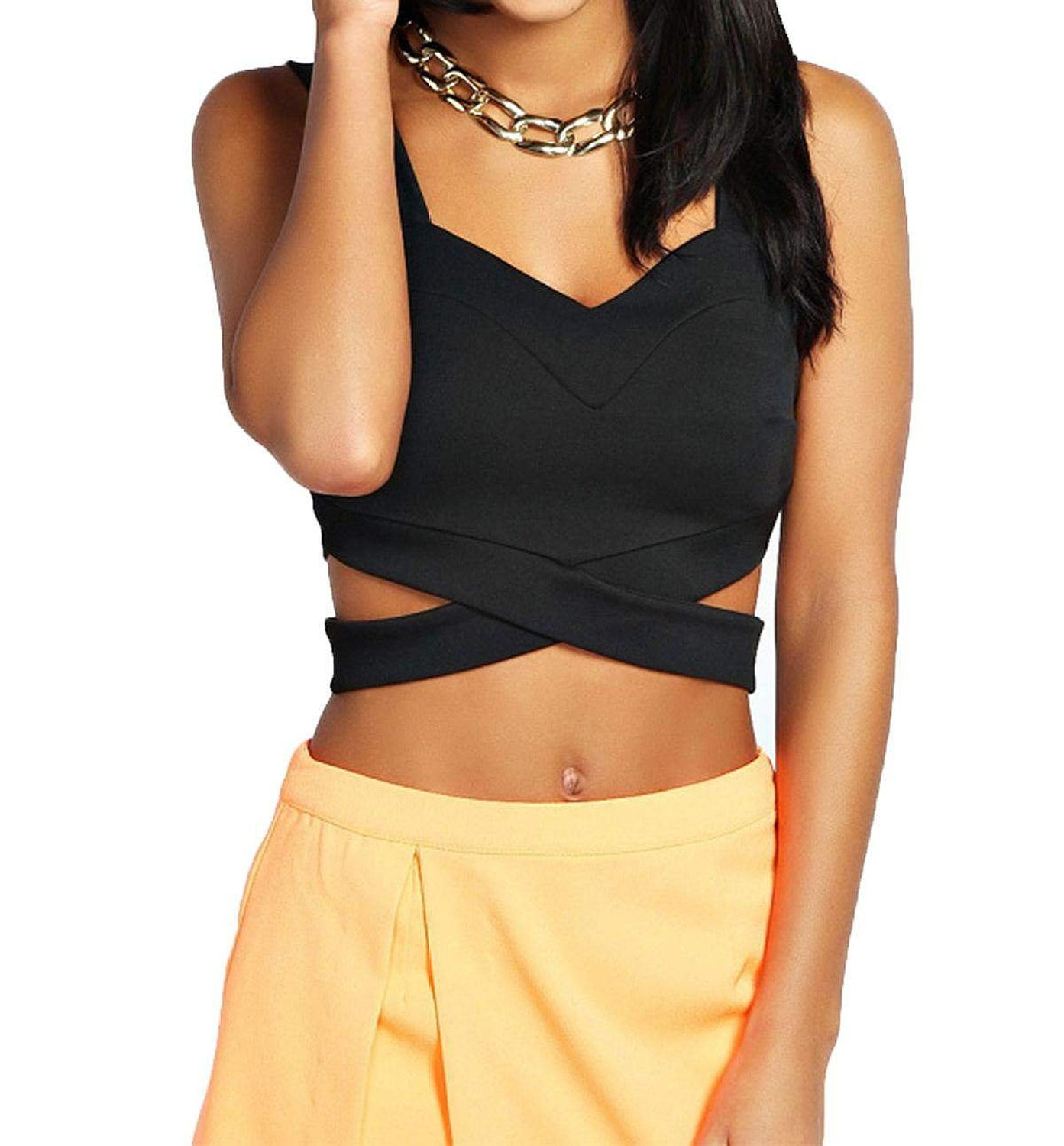 Zeagoo Women Sleeveless Slim Fitting Sexy Casual Bralet Strap Crop Tops Vest at Amazon Women's Clothing store: