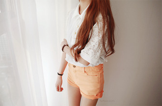 gold buttons white shirt lace cute girly shorts