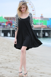 dress,betsy boo's boutique,shift dress,stripes,black