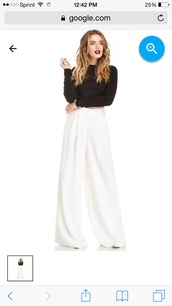 pants,white,trousers wide leg