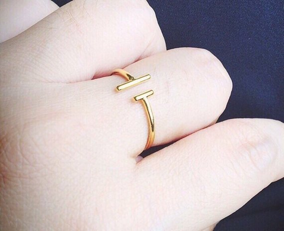 Dainty Ring - Bar Ring - Gold Ring - T Open Ring - Delicate Ring - Minimal Ring