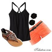 tank top,blouse,jewels,shoes,shirt,shorts,top,orange shorts