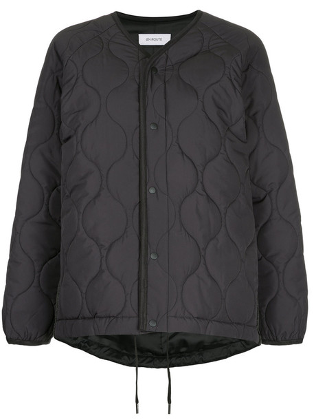 En Route - quilted snap button jacket - women - Polyester - 1, Black, Polyester