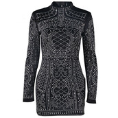 dress,black,fashion,style,long sleeves,studded,trendy,party,cool,fancy,free vibrationz