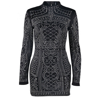 dress black fashion style long sleeves studded trendy party cool fancy free vibrationz
