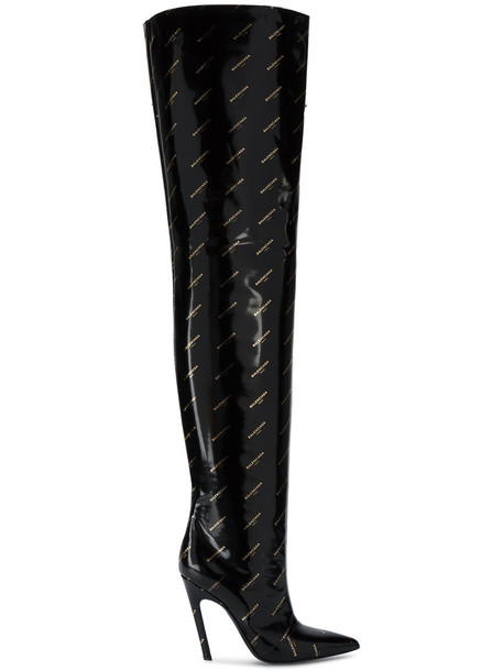 Balenciaga thigh boots women leather black shoes