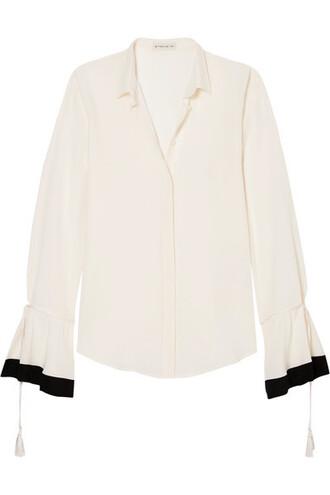 blouse tassel white silk top
