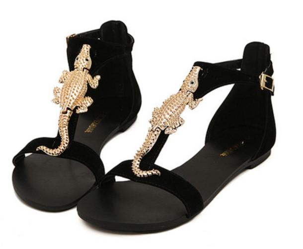 shoes gecko black gold flat summer sandals wheretoget