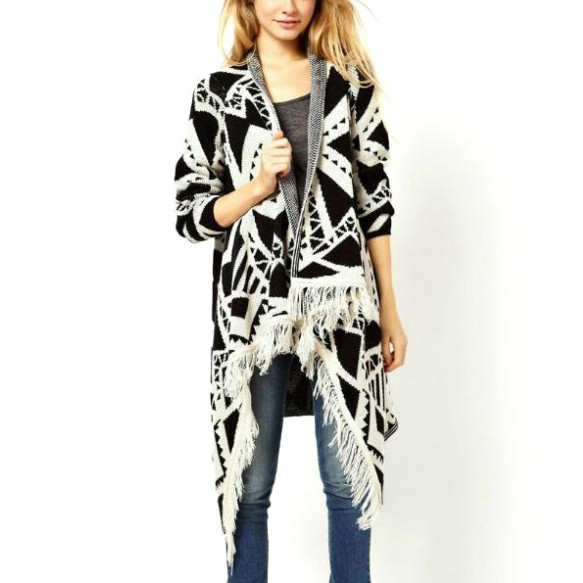 Aztec Print Draped Cardigan With Fringe Trims