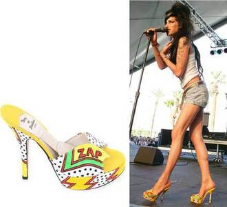 heels amy winehouse yellow peep toe shoes