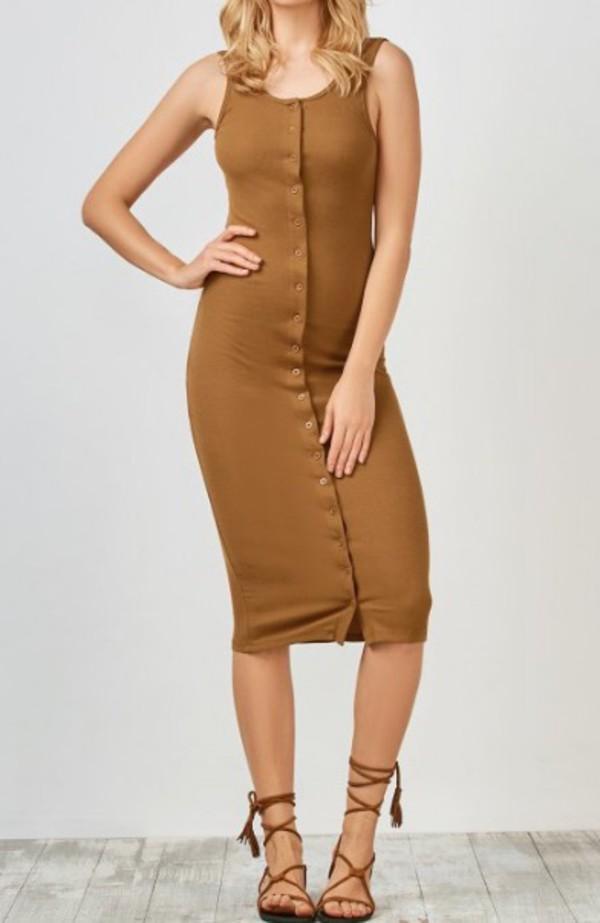 bb102b28ded1 dress girly midi dress bodycon dress bodycon brown button up dress button up  sleeveless dress.