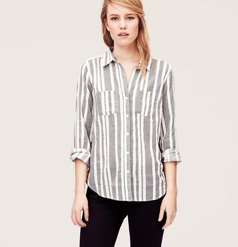 Easy Stripe Softened Shirt | Loft