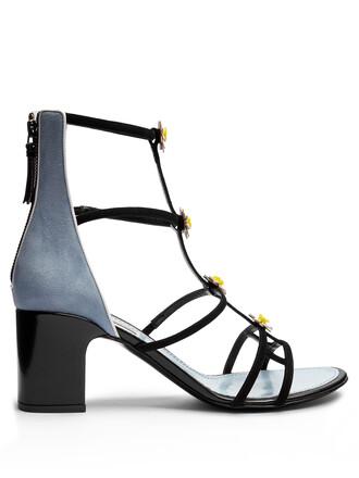 daisy embellished sandals suede blue black shoes