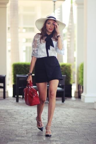 preppy fashionist blogger hat blouse skirt shoes bag see through black skirt mini skirt red bag valentino studded shoes