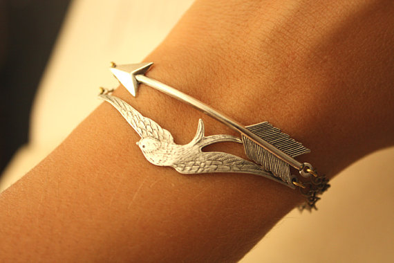 Silver arrow and silver bird par iadornu sur etsy