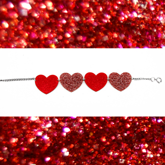 jewels glitter heart necklace heart choker choker necklace lasercut plastic valentines day gift idea