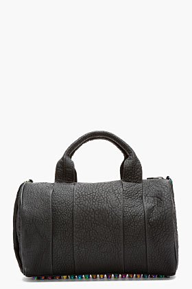 Alexander Wang Black Rubberized Leather Iridescent Rocco Duffle Bag for women | SSENSE
