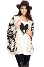 ROMWE | ROMWE Off-white Oversized Aztec Tribal Cardigan, The Latest Street Fashion