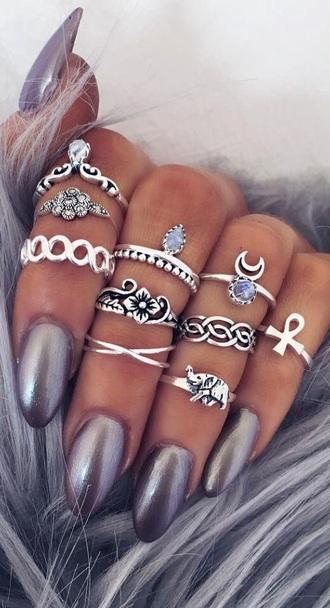 jewels jewelry boho jewelry silver jewelry silver silver ring ring knuckle ring ring set boho boho chic bohemian