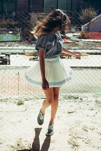 skirt short skirt pleated skirt white chiffon skirt high waisted skirt blue stripes red stripe chiffon skirt denim shirt