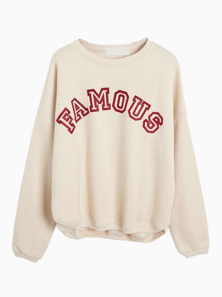 Beige Letters Print Sweatshirt | Choies