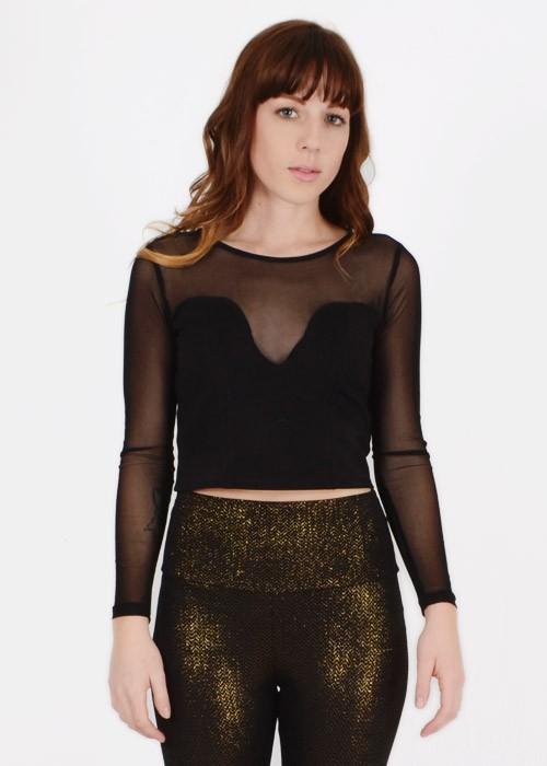 Black mesh sleeves crop top