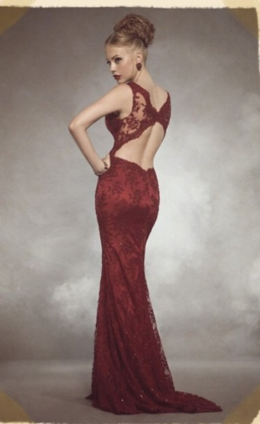 dress burgundy prom dress with open back burgundy lace dress burgundy dress red dress marron long prom dress sexy dress style elegant dress prom backless prom dress