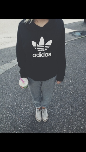 sweater adidas black and white hoodie shoes black