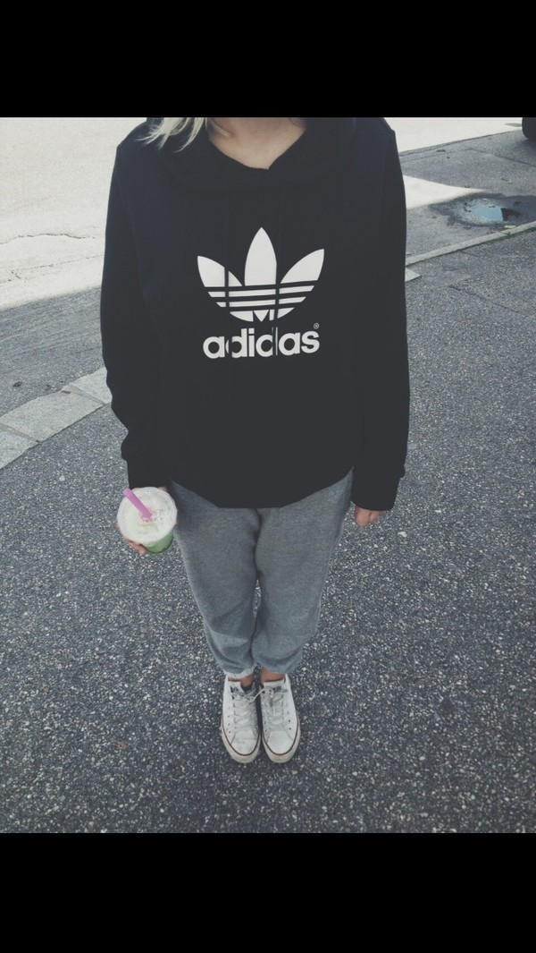 sweater adidas black and white hoodie shoes sweatpants grey sweatpants harem sweatpants lazy day black