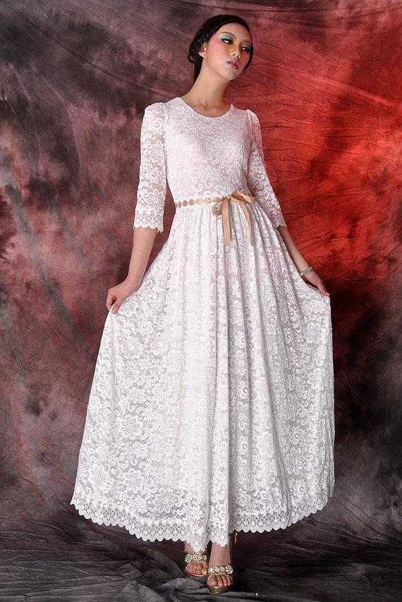 58 off white lace maxi dresswedding dressparty dresslong by dongli