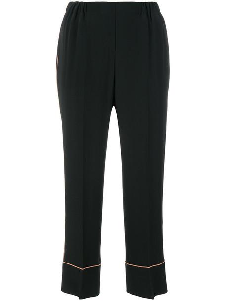 No21 cropped high women black silk pants