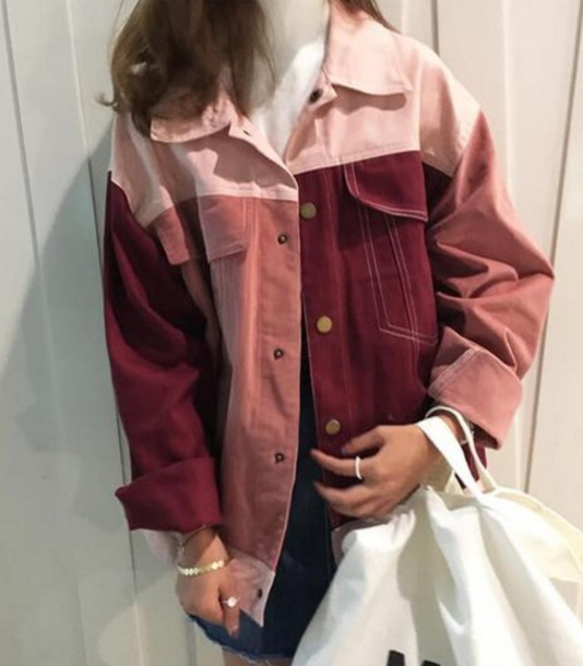 jacket colorblock girly girl denim jacket denim color/pattern tumblr colorblcok aesthetic grunge cute kawaii pink jeans outerwear