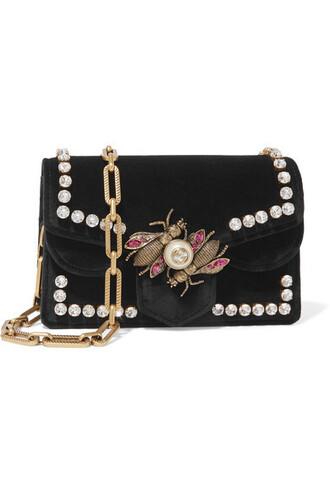 embellished bag shoulder bag black velvet