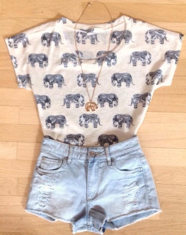 shirt elephant shorts t-shirt elephant