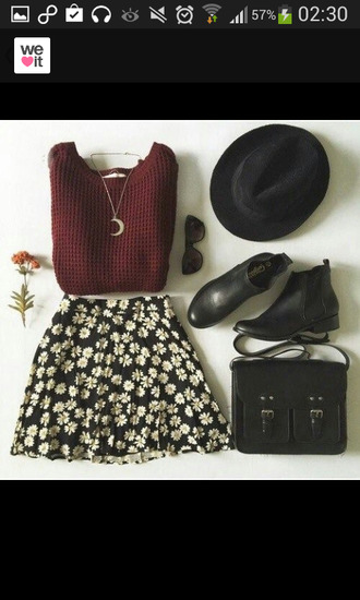 bag necklace pullover collier chaussures jupe