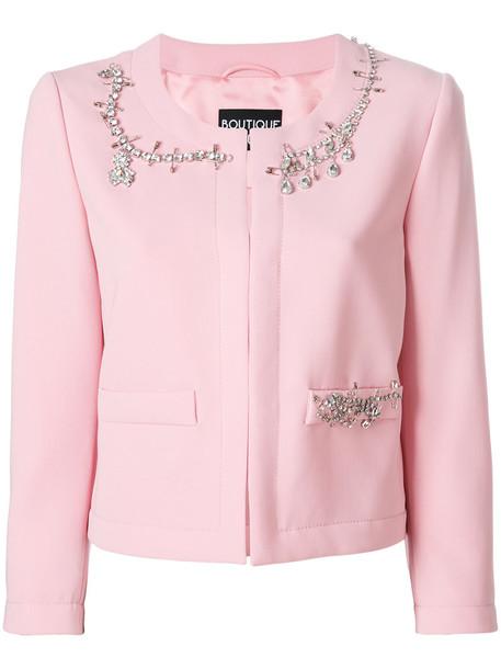 BOUTIQUE MOSCHINO jacket embellished jacket women embellished purple pink