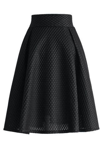 skirt honeycomb mesh a-line skirt in black a-line black chicwish