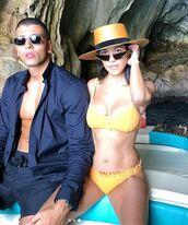 swimwear,bikini top,bikini bottoms,kourtney kardashian style,summer,celebrity,instagram,bikini,hat
