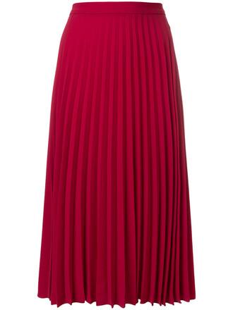 skirt pleated skirt pleated women red