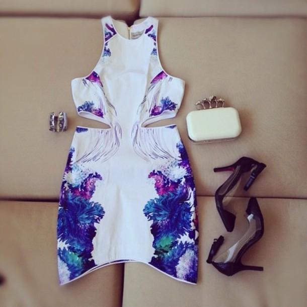 Dress Tumblr Cut Out Print White Bodycon Side Cutout