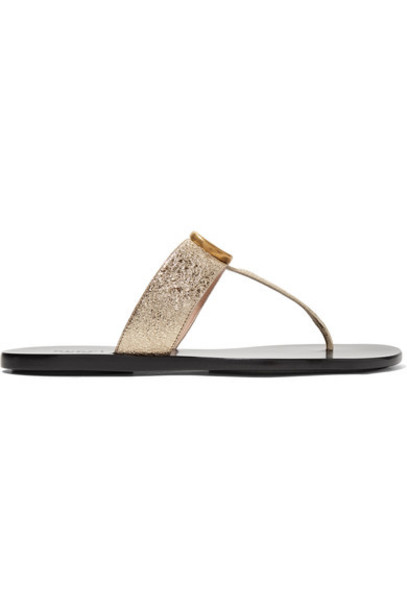 gucci metallic sandals leather sandals gold leather shoes
